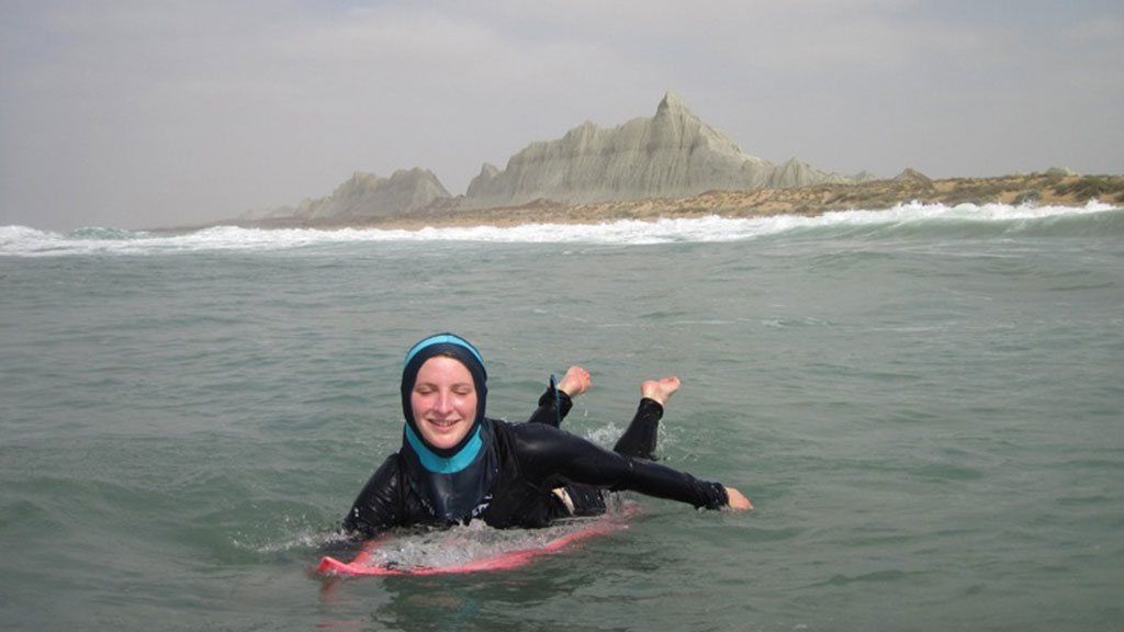 Easkey paddling out to surf in Iran
