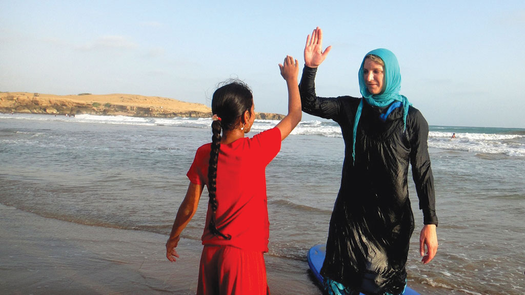 Teaching women to surf in Iran