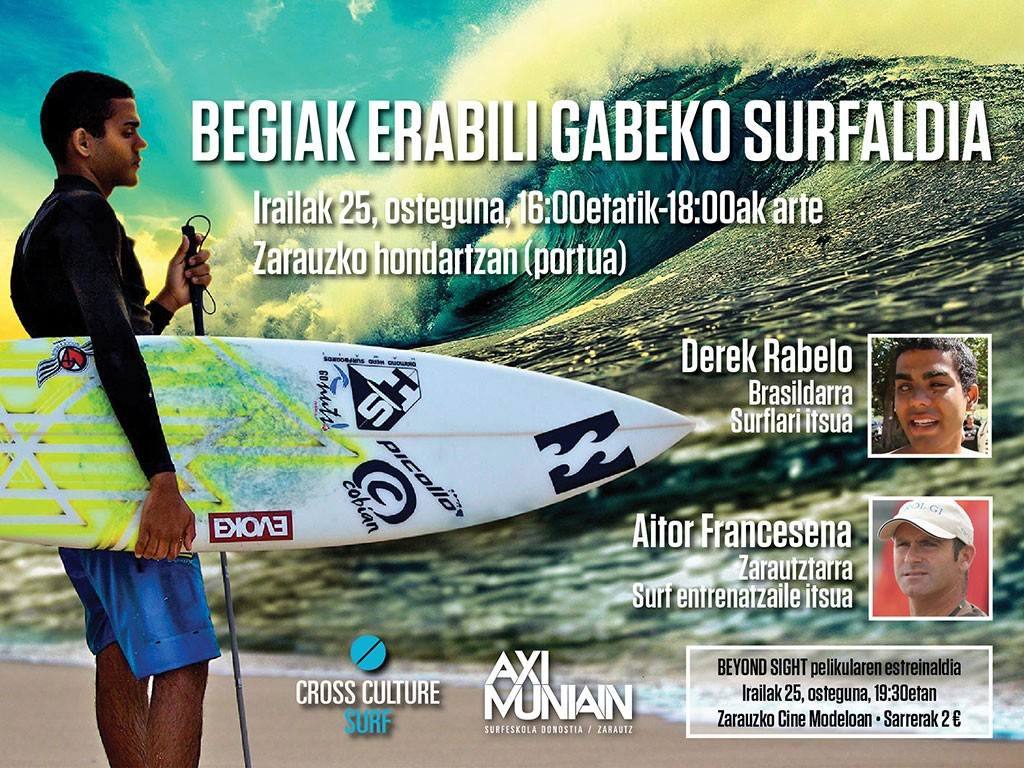 advert for the blind surf session in Zarautz
